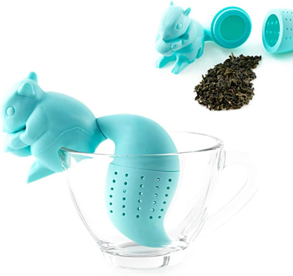 Hary Cute Squirrel Tea Strainer 1Pcs Reusable Food Grade Tea Infuser Novelty Loose Leaf Tea Filter Diffuser Drink Accessory for Tea Drinkers Cute Gift on Holiday Silicone BPA Free Eco-friendly Blue
