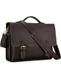 Men's Twin Buckle Genuine Leather Messenger Bag (Large, Dark Brown)