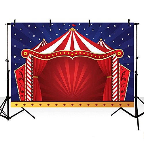 MEHOFOTO Photo Studio Booth Backgroud Red Circus Stars Children Party Backdrops for Photography 8x6ft
