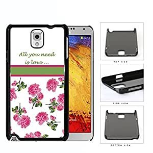 aqiloe diy All You Need Is Love Quote With Pink Roses Hard Plastic Snap On Cell Phone Case Samsung Galaxy Note 3 III N9000 N9002 N9005
