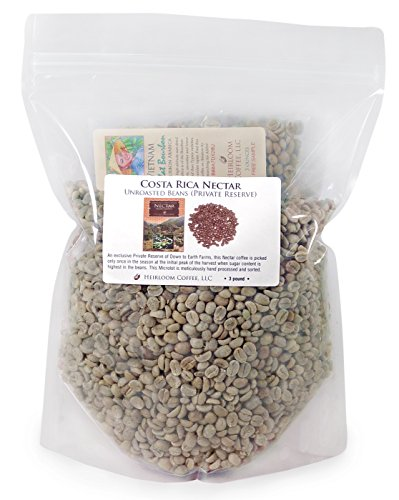 Costa Rica Dota Estate, Green Unroasted Coffee Beans (3 LB Nectar) by Heirloom Coffee LLC