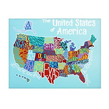 Amazon.com: Large US Map: Home Decor Canvas Wall Art for Kids ...