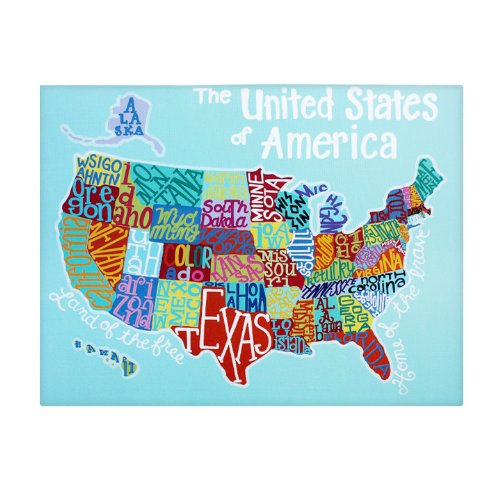 Large US Map Home Decor Canvas Wall Art For Kids Classroom - Us map canvas