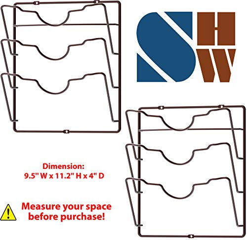 Kitchen 2 Pack – Simple Houseware Cabinet Door/Wall Mount Pot Lid Organizer Rack, Bronze pot lid holders