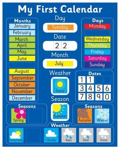Magnetic My First Learning Calendar - Blue Rigid board 16
