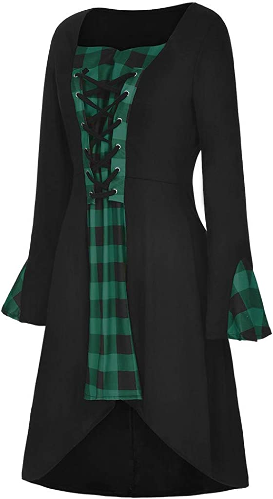 HGWXX7 Womens Dress Halloween Vintage Gothic Cosplay Lace Up Robe Long Sleeve Plus Size Renaissance Plaid Mini Dresses