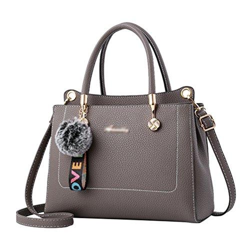 Capacity Messenger Strap Female ZhiYuanAN Decoration Color Solid Shoulder With Hairball Handbag Cute Detachable Bag Grey Large Shoulder gIwTZqvdxw