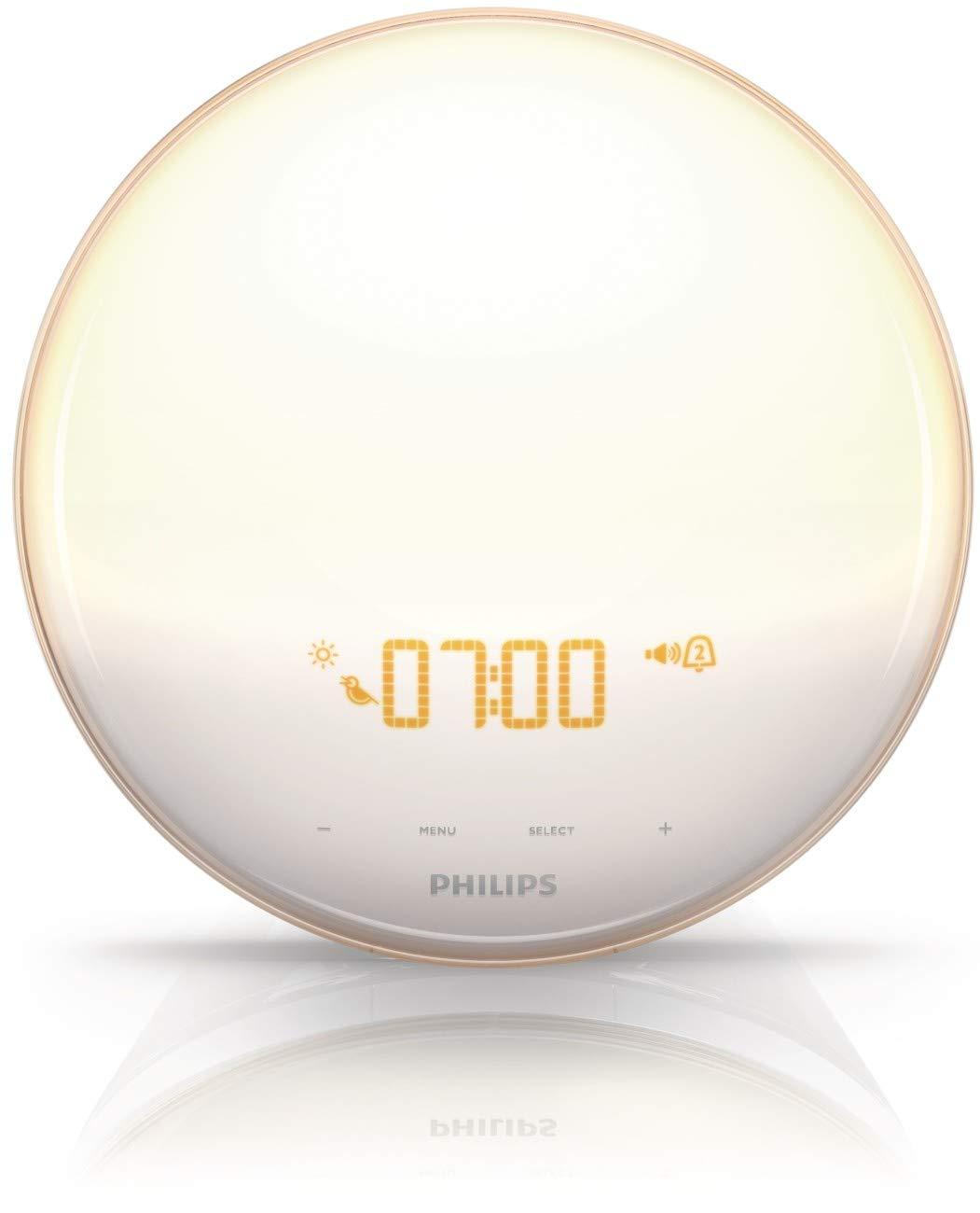 Philips SmartSleep Wake-up Light, Colored Sunrise and Sunset Simulation, 5 Natural Sounds, FM Radio & Reading Lamp, Tap…