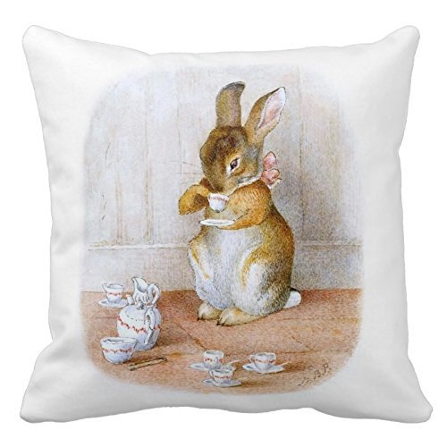 Generic Decorative Cotton 18 X 18 Twin Sides Beatrix Potter: Bunny Girl Drinking Tea Throw Pillowcases Beatrix Potter Bunny