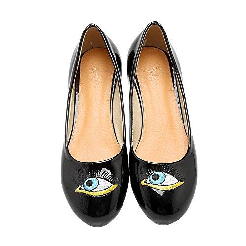 Amoonyfashion Womens Cartoon Patroon Pu Lage Hakken Ronde Teen Pull-on Pumps-schoenen Zwart