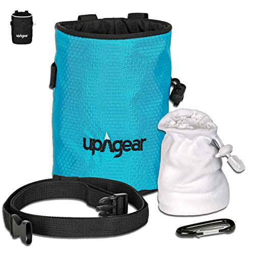 upAgear 4 in 1 Rock Climbing or Bouldering Chalk Bag set | ANTI LEAK design with LARGE POCKET | Includes FREE (Mountain Chalk Bag)