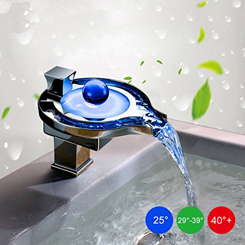 Alotm Temperature Sensing Glowing LED Bathroom Sink Faucet Water Power Tap Waterfall Sink Faucet with RGB 3 Colors Changing, Polish Chromed by Alotm