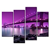 So Crazy Art Purple 4 Panel Wall Art Painting Manhattan Bridge With Purple Light Prints On Canvas The Picture City Pictures Oil For Home Modern Decoration Print Decor For Bedroom