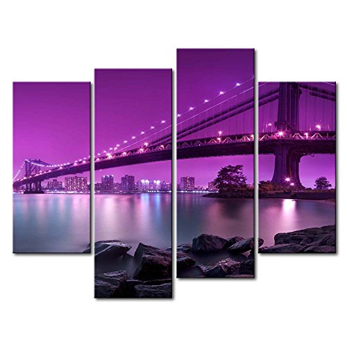 So Crazy Art Purple 4 Panel Wall Art Painting Manhattan Bridge With Purple Light Prints On Canvas The Picture City Pictures Oil For Home Modern Decoration Print Decor For Bedroom by So Crazy Art