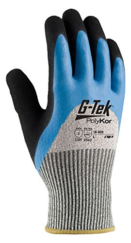 820 Glasses (G-Tek CR 16-820/L Seamless Knit HPPE/Glass Glove with Acrylic Lining and Double-Dipped Latex Coated Micro-Surface Grip on Palm, Fingers and Knuckles)