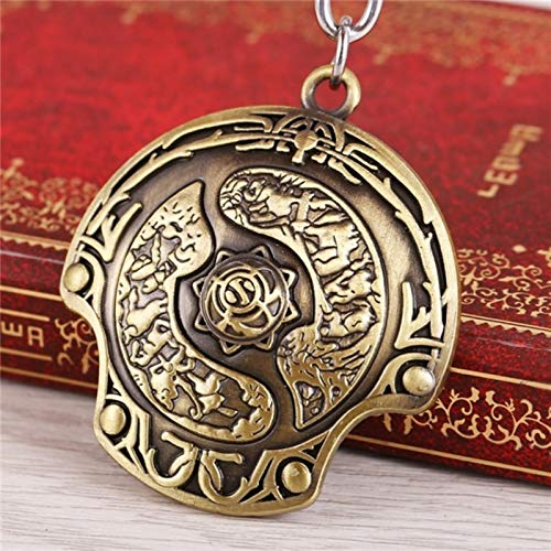Black Key Chain Rings Game Dota 2 Keychain Alloy Immortal Champion Shield Bronze Metal Key Rings for Gifts Chaveiro Key Chain