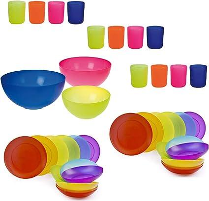 Vajilla de 39 piezas para barbacoas, camping o verano: 24 platos, 12 vasos y 3 ensaladeras de 17, 20 y 24 cm - de plástico rígido, lavables en ...