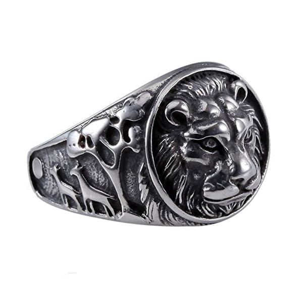 Moluss Lion King Mens 361L Stainless Steel Biker Rocker Gothic Vintage  Black Ring Size 7-13