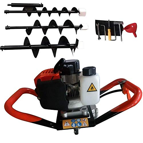 52CC Gas Powered Post Hole Digger Earth Auger Borer,Full Crankshaft Engine,3Drill Bit Extension Bar 4