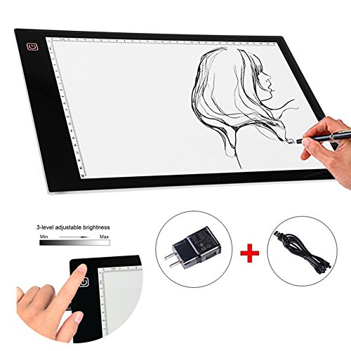 Tracing Light Pad, A4 LED Copy Board Light Box Ultra-thin USB Power Cable Dimmable Brightness Pad for Artists Drawing Sketching Animation Designing Stencilling X-ray Viewing