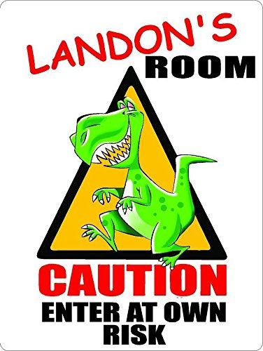 "LANDON Caution enter Dinosaur Kids room door décor sign 7""X10"" Plastic ."