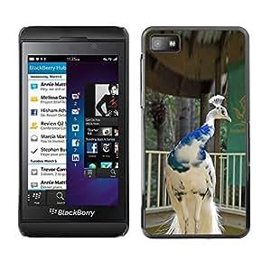 Design for Girls Plastic Cover Case FOR Blackberry Z10 Peacock Bird Porcelain White Blue Crown OBBA