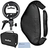Godox 60x60cm/24x24in Foldable Universal Softbox with S Style Speedlite Bracket for Flash Bowens Mount Accessories Direction Adjustable (60cmX60cm Set)