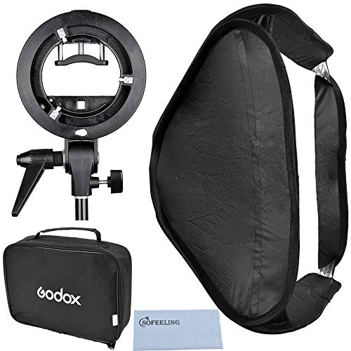 Godox 60x60cm/24x24in Foldable Universal Softbox with S Style Speedlite Bracket for Flash Bowens Mount Accessories Direction Adjustable (60cmX60cm Set) by Godox