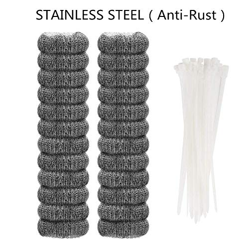 24 Pieces Lint Traps Stainless Steel (NEVER RUST) Washing Machine Lint Snare Traps, Washer Hose Lint Traps with 24 pcs Cable Ties