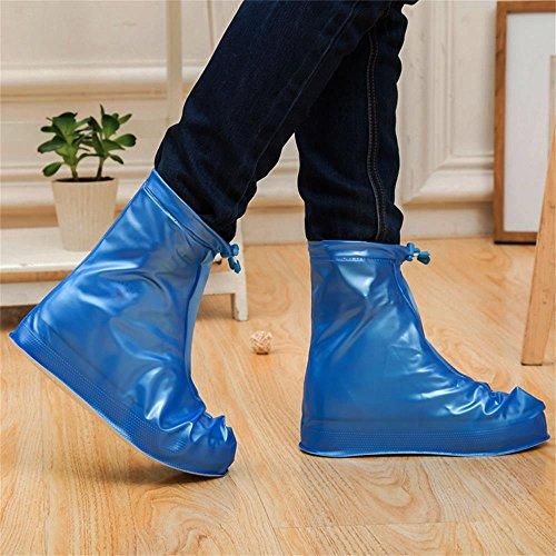 Whose Lemon Reusable Women Men Waterproof Shoes Covers, Rain Snow Boots Covers for Travel, Garden, Cycling, Protect Floor Blue M