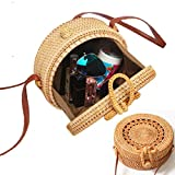 Zinuo Round Woven Ata Rattan Bag Summer Beach Shoulder Bag for Women (S1)