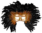 Forum Elaborate Feather Venetian Mask, Gold/Black, One Size