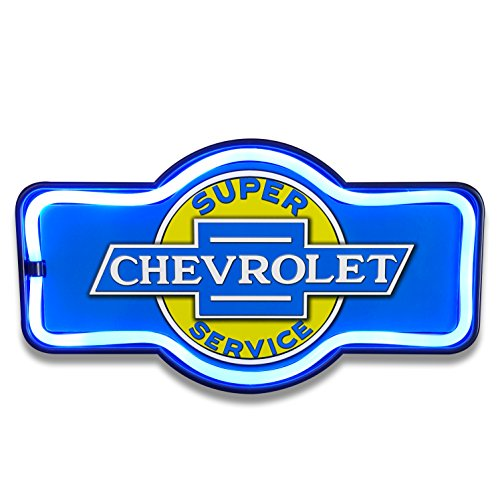 Chevrolet Chevy Super Service Garage - Reproduction Vintage Advertising Marquee Sign - Battery Powered LED Neon Style Light - 17 x 10 x 3 Inches