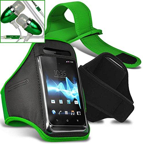 Vodafone Smart speed 6 Armbänder Hülle Cover mit verstellbarem Klettverschluss zum Sport, im Fitnessstudio, beim Joggen, Laufen, Fahrradfahren, Radfahren Schutz - Grün / Green - Von Gadget Giant® Grün / Green Armbänder + Kopfhörern