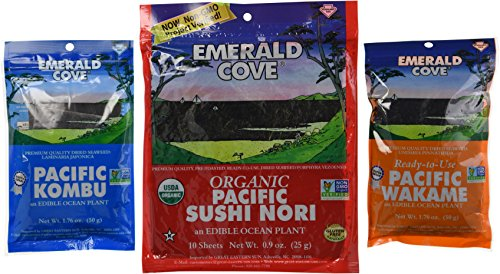 Emerald Cove Non-GMO Verified Edible Ocean Plant 3 Flavor Variety Bundle: (1) Emerald Kove Pacific Kombu, (1) Emerald Cove Pacific Wakame, and (1) Emerald Cove Organic Pacific Sushi Nori (10 Sheets), .9-1.76 Oz. Ea. (Vegetable Wakame Sea)