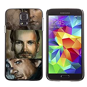 Paccase / SLIM PC / Aliminium Casa Carcasa Funda Case Cover para - Man Portrait Blue Eyes Handsome Drawing - Samsung Galaxy S5 SM-G900