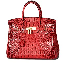 Lalagen Women's Crocodile Embossed Clearance Genuine Leather Top Handle Padlock Purses and Handbags Red 30