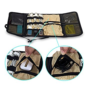Foldable Travel Organizer Electronics Accessories Bag for USB Cable Charger Battery Baby Healthcare kit Fit for Phone Hard Drive Portable Grey Wrap Digital Storage bags