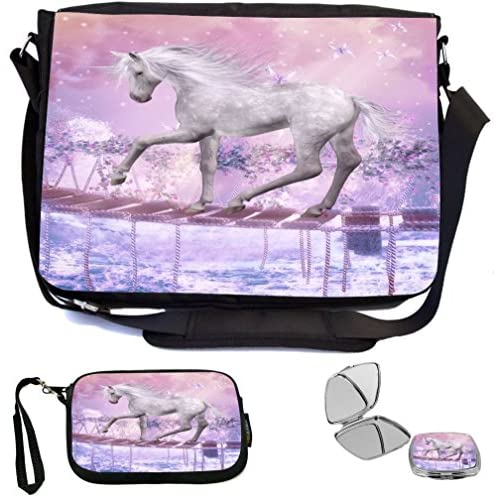 Rikki Knight White Unicorn On Bridge Pink Background Design COMBO Multifunction Messenger Laptop Bag - with padded insert for School or Work - includes Wristlet & Mirror