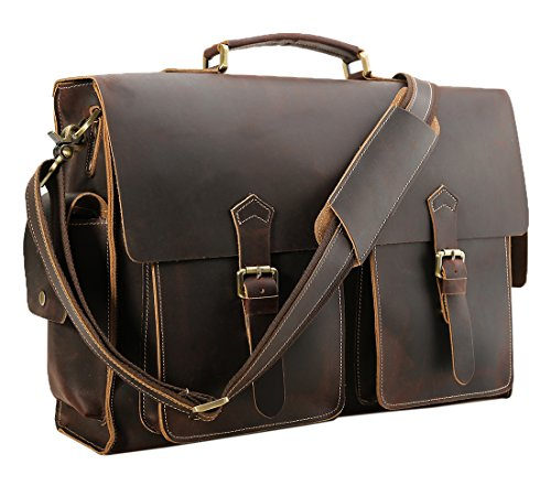 Polare 17'' Mens Full Grain Leather Laptop Briefcase Business Messenger Bag Satchel ()