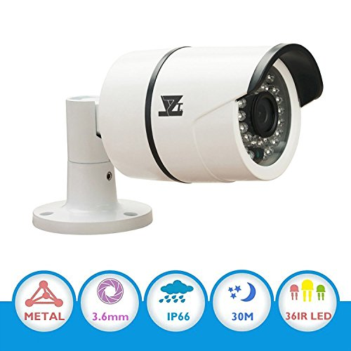 JZTEK 1/3″ CMOS 1000TVL 960H 720P CCTV Home Surveillance Weatherproof 3.6mm lens with IR Cut Bullet Security Camera – 36PCS Infrared LEDs, 100ft IR Distance, Aluminum Metal Housing