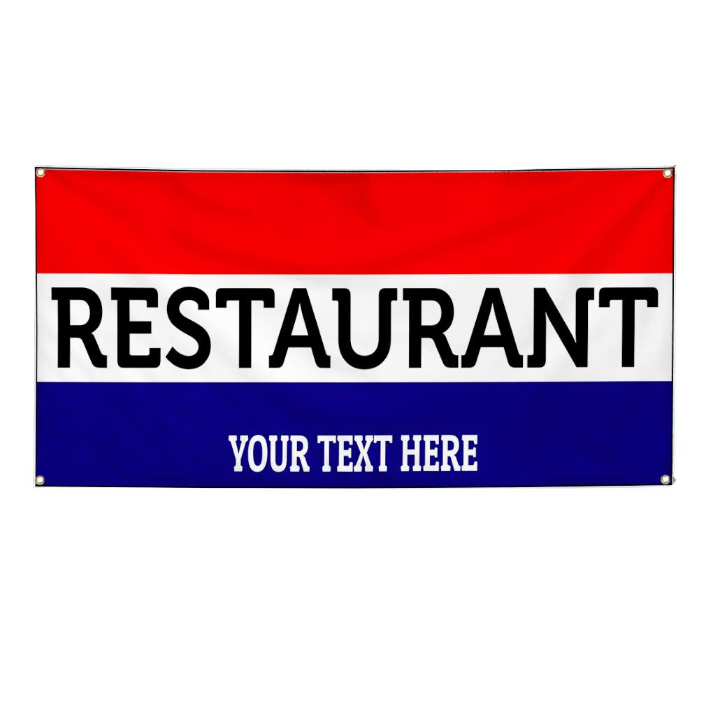 Custom Industrial Vinyl Banner Multiple Sizes Restaurant Style B Personalized Text Here Funny and Novelty Outdoor Weatherproof Yard Signs Red 8 Grommets 48x96Inches