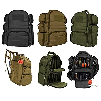 Explorer Backpack + Range Bag with Large Padded Deluxe Tactical Divider and 9 Clip Mag Holder - Rangemaster Gear Bag Heavy Duty Gun Bag, 19? x 16? x 9?