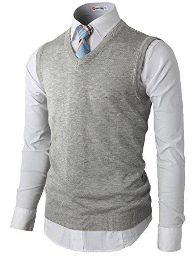 Pima Cotton Vest - H2H Men's Pima Cotton Thermal Sweater Vest With Ribbed V-neckline GRAY US L/Asia XL (KMOV050)
