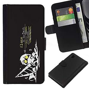 All Phone Most Case / Oferta Especial Cáscara Funda de cuero Monedero Cubierta de proteccion Caso / Wallet Case for Sony Xperia Z1 L39 // Funny Art Guy Drill Dig Dark Black Yellow Worker