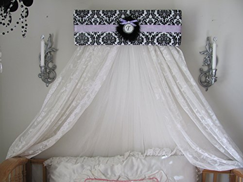 - Damask Black white lavender Canopy with curtains for Bedroom or Nursery Bed Crib Sale So Zoey Boutique custom designs