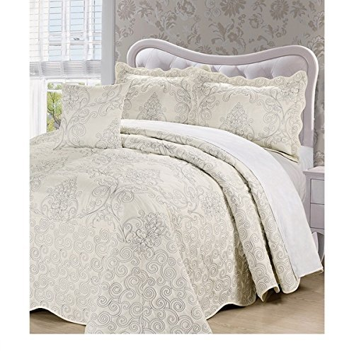 4pc 120 X 120 Natural White Oversized Damask Bedspread King Floor, Polyester, Hangs Over Edge Floral Bedding Drops Side Bed Frame Drapes Large Extra Wide Long French Country Pattern by OSD