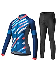 Mysenlan Women's Cycling Long Sleeve Breathable Jersey Set 3D Padded Long Pants Bike Shirt Bicycle Tights Clothing Blue