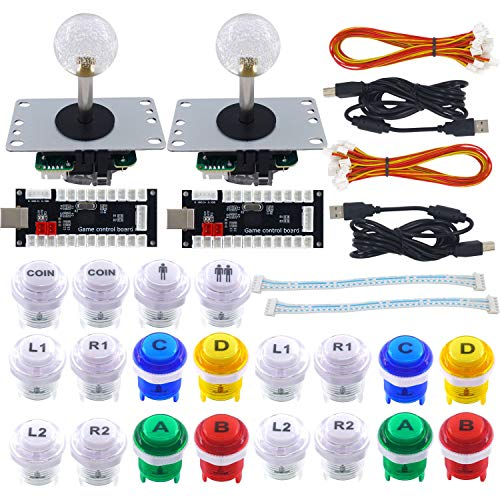 SJ@JX 2 Player Arcade Game DIY Kit Arcade Matt Frosted Black Button Twins USB Encoder Zero Delay 4&8 Way Arcade Fighting Joystick Controller for PC MAME Respberry Pi - Usb Pack Twin