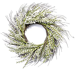 "Red Co. Artificial | Flower Bouquet Snow Heather | Natural Twig Spring Floral Wreath - Home Decor for Front Door or Indoor Wall - 24"" 11"